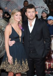 """Sam Worthington and girlfriend Crystal Humphries attend the European Premiere of """"Wrath Of The Titans"""" in London"""