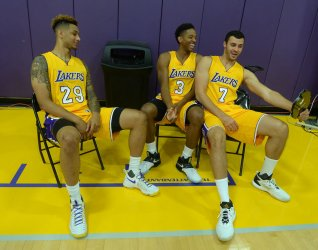 Zach Auguste, Anthony Brown, and Larry Nance Jr participate in Lakers media day