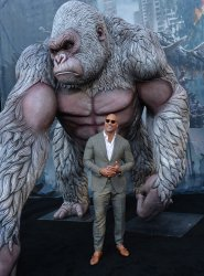 "Dwayne Johnson attends the ""Rampage"" premiere in Los Angeles"