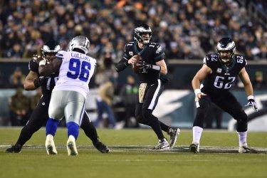 Eagles quarterback Carson Wentz drops back to pass