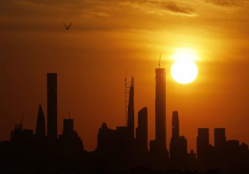 Sunset over Manhattan at the US Open