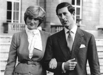 Lady Diana Spencer and Prince Charles on their engagement day