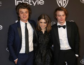 Joe Keery, Natalia Dyer and Charlie Heaton attend the InStyle and Warner Bros. Golden Globe after-party in Beverly Hills