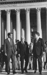 George Bush, Warren Burger and Ronald Reagan Leave Court Building