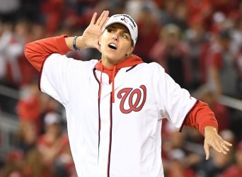 WNBA MVP Delle Donne throws first pitch during NLCS  in Washington