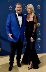 James Corden and Julia Carey attend the 70th annual Primetime Emmy Awards in Los Angeles