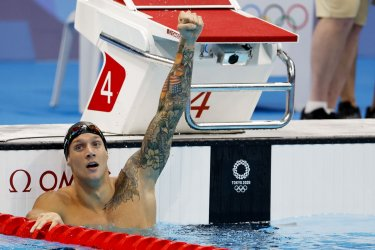 Caeleb Dressel Gold Medal WInner at Mens 100m Butterfly at Tokyo Olympics