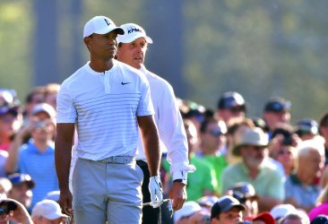 Tiger Woods and Phil Mickelson during a practice round for the Masters