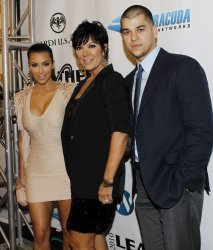 Kim Kardashian, Kris Jenner and Rob Kardashian arrive at the 7th Annual Leather and Laces party in Miami