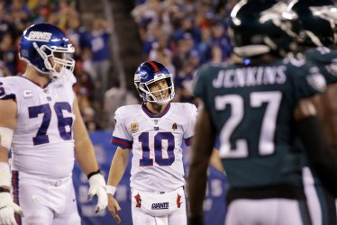 New York Giants Eli Manning reacts after a play