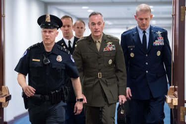 Gen. Dunford arrives to delivers a briefing on Iran
