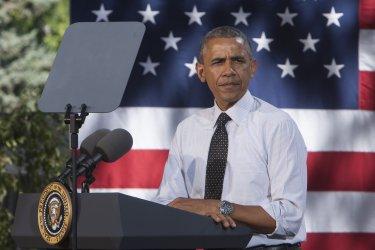 President Obama speaks during economic rally in Denver