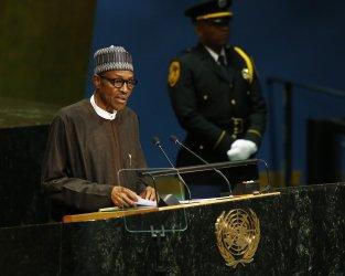 Nigeria President Muhammadu Buhari addresses the General Assembly at the UN