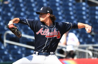 Max Fried Pitches against the Nationals  in Washington