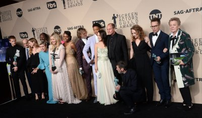 The cast of 'Three Billboards Outside Ebbing, Missouri' wins an award at the 24th annual SAG Awards in Los Angeles