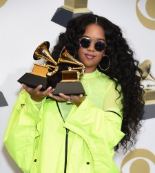 H.E.R. wins awards at the 61st Grammy Awards in Los Angeles