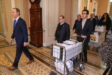 House Managers Hand Off Impeachment Documents On Capitol Hill