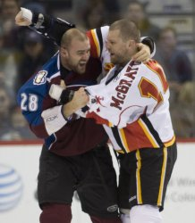 Flames McGrattan and Avalanche Koci Fight in Denver