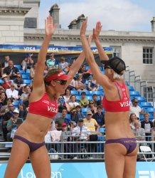 Brittany Hochevar and Lisa Rutledge of team USA celebrates against Brazil.