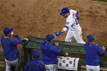 Cubs Jason Kipnis Hits Two Run Home Run At Wrigley Field in Chicago