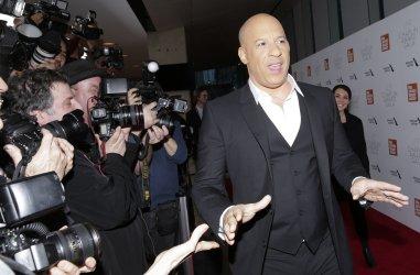 Vin Diesel arrives at the 45th Chaplin Award Gala in New York