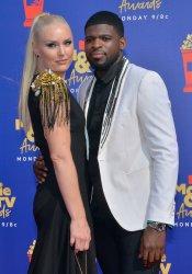 Lindsey Vonn and P. K. Subban attend the MTV Movie & TV Awards in Santa Monica, California