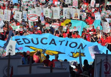 With strike looming, L.A. teachers march downtown
