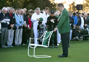 Ceremonial First Tee shot on Day 1 of the Masters Tournament