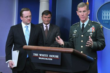 U.S. Ambassador to Afghanistan Karl Eikenberry and Gen. McChrystal speaks on Afghanistan in Washington