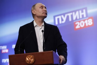 Russian President Putin news conference at his election headquarters