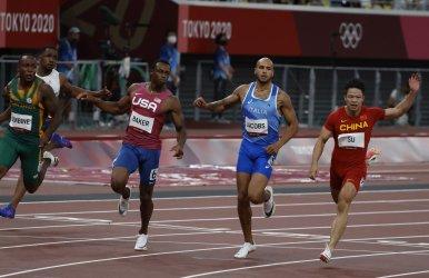 China's Su wins 100m semifinal heat three at Summer Olympics in Tokyo, Japan