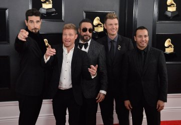 Kevin Richardson, Brian Littrell, AJ McLean, Nick Carter and Howie Dorough arrive for the 61st Grammy Awards in Los Angeles