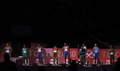 100m final at the Summer Olympics in Tokyo, Japan