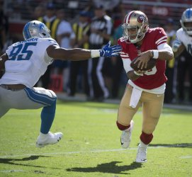 49ers QB Jimmy Garoppolo mauled by Lions