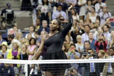 Serena Williams celebrates at the US Open