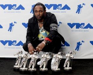 Kendrick Lamar wins awards at the 2017 MTV Video Music Awards in Inglewood, California