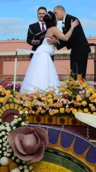 "Couple marry atop ""Love Float"" in the 124th Tournament of Roses Parade in Pasadena, California"