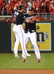 Nationals Soto and Rendon celebrate win during NLCS  in Washington