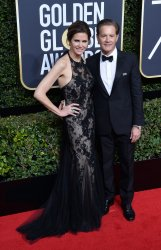 Desiree Gruber and Kyle McLachlan attend the 75th annual Golden Globe Awards in Beverly Hills