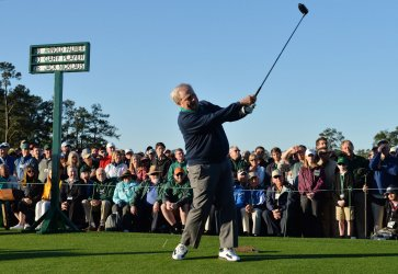 Honorary starter Jack Nicklaus hits a tee shot