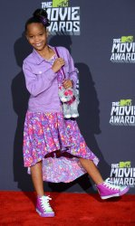 Actress Quvenzhane Wallis appears backstage at 2013 MTV Movie Awards in Culver City, California