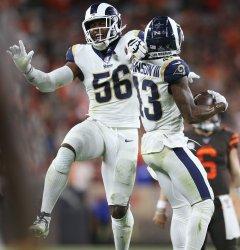 Rams Johnson III celebrates game ending interception against Browns