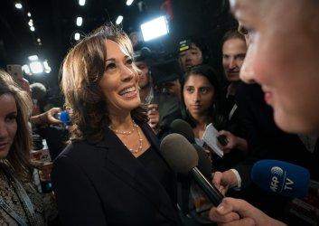 Kamala Harris speaks to the media at the Democratic Presidential Primary Debate in Miami