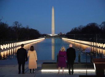 President-Elect Biden Attends Covid Lighting Ceremony At Lincoln Memorial