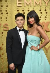 (L-R) Manny Jacinto and Jameela Jamil attend Primetime Emmy Awards in Los Angeles