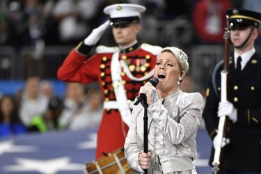 Pink performs national anthem during Super Bowl LII in Minneapolis