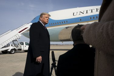 President Trump speaks before boarding Air Force One at Andrews
