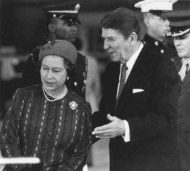 President Reagan Leads Queen Elizabeth