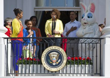 Rachael Crow signs the National Anthem at the White House Easter Egg Roll in Washington