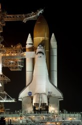 """NASA's Space Shuttle """"Endeavour"""" prepared for launch at the Kennedy Space Center."""